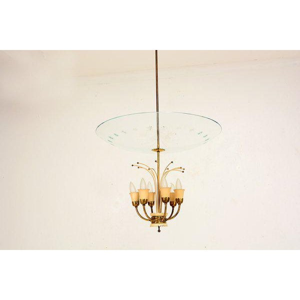 Gold Italian Chandelier After Fontana Arte For Sale - Image 8 of 9