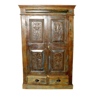 1920s Rustic Old Wood Floral Carved Armoire For Sale