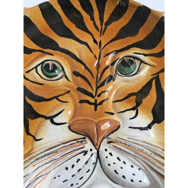 Hollywood Regency Mid Century Italian Hand Painted Striped Tiger Platter For Sale - Image 3 of 13