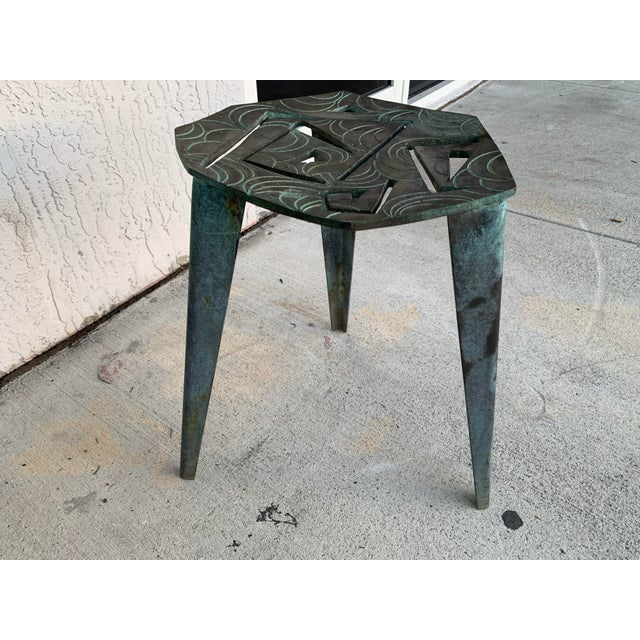 Late 20th Century Artist Made Vintage Modernist Bronze Side Table For Sale - Image 5 of 7