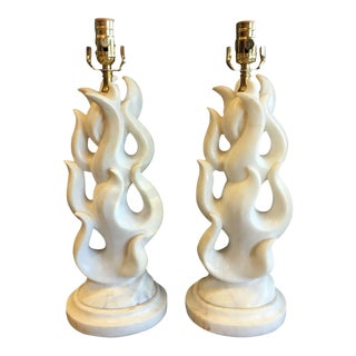 Maurizio Tempestini Carved Alabaster Flame Lamps - a Pair