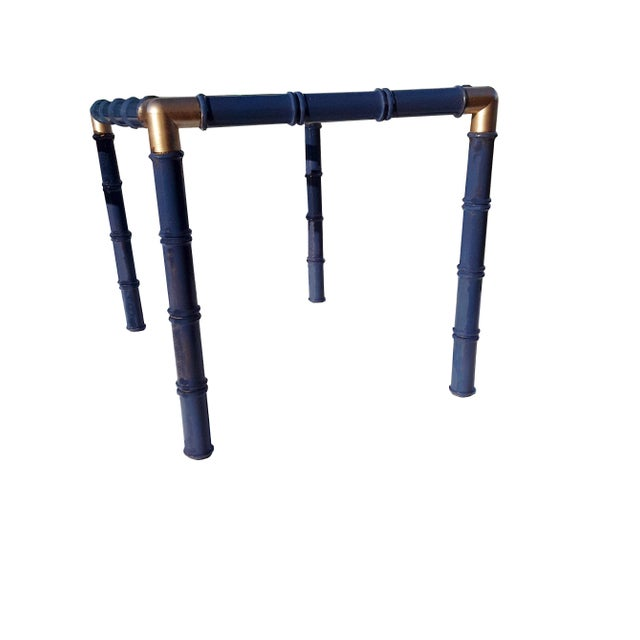 Asian Pair Mid Century Faux Bamboo Glass Side/End Tables Lacquered Blue Pair Faux Bamboo Tables For Sale - Image 3 of 6