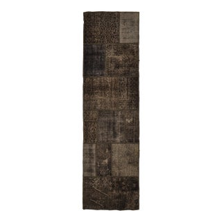 Turkish Over-Dyed Distressed Patchwork Runner Rug - 2'9 X 10' For Sale