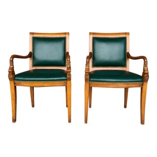 Charles X Style Dolphin Arm Chairs - a Pair