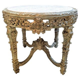 Carved Marble Top Center Dining or End Table, Rose and Grape With Leaf Decorated For Sale