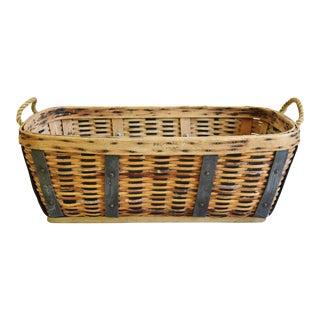 Vintage Rustic Primitive Woven Wood Basket W/ Rope Handles