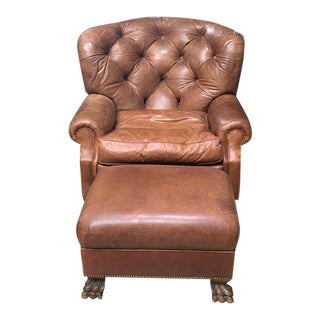 Modern Custom Leather Winged Club Chair & Ottoman For Sale