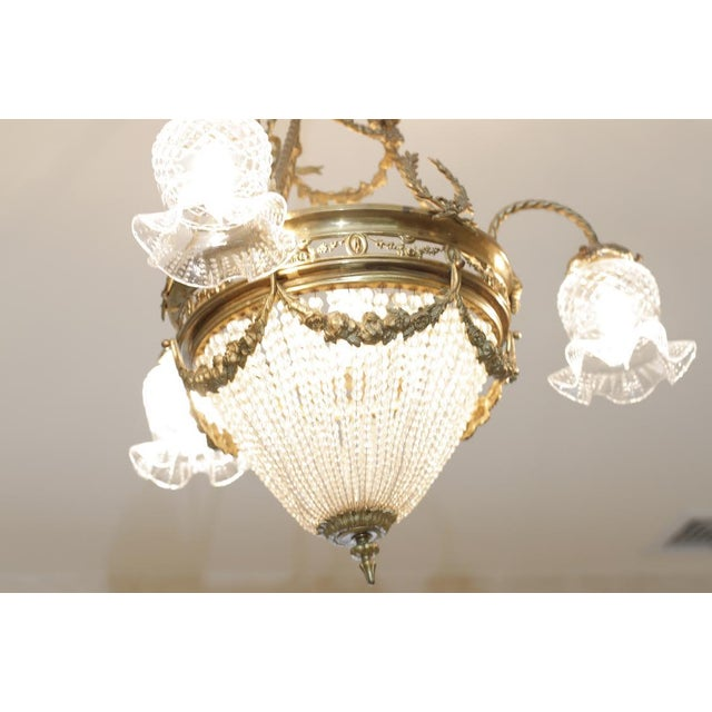 French 19th Century Empire Style Half Circular Crystal & Bronze Chandelier For Sale - Image 11 of 11
