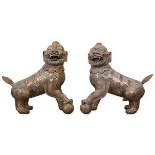 Pair of Tibetan Bronze Guardian Lion Figures For Sale