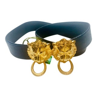 Dotty Smith Gold Lion's Head Door Knocker Belt For Sale