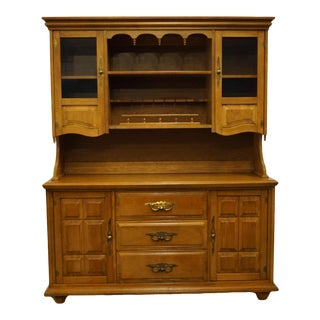 Vintage Stanley Furniture Solid Hard Rock Maple Buffet with China Cabinet For Sale