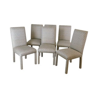 Vintage 1970's Custom Upholstered Set 6 Parsons Dining Chairs For Sale