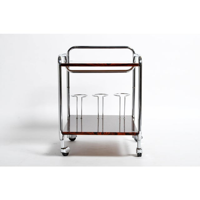 Mid-Century Modern Hungarian Chrome and Rosewood Bar Cart For Sale - Image 4 of 13