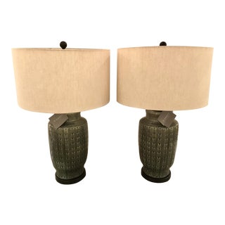 Modern Currey & Co, Ashen Gray Table Lamps Pair For Sale
