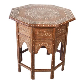 Large Anglo-Indian Octagonal Tea Table with Inlay For Sale