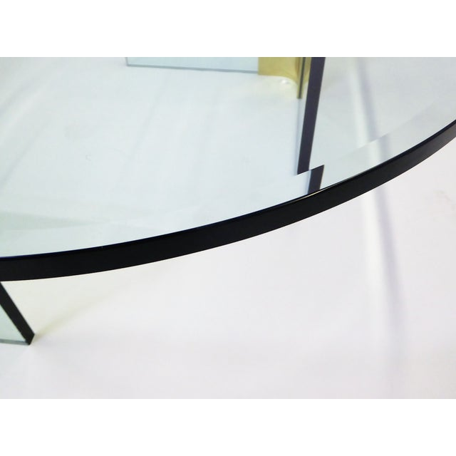 Modern Large 1970s Thick Glass & Brass Coffee Table For Sale - Image 10 of 13