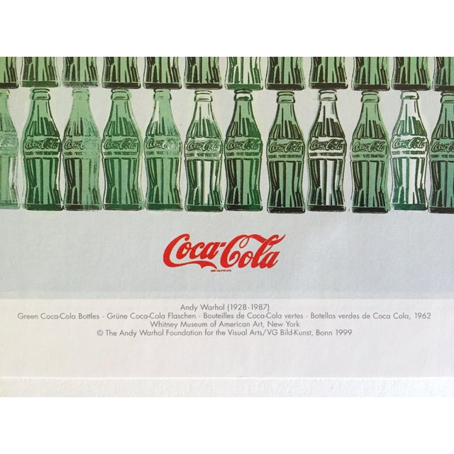"""Andy Warhol Foundation Vintage 1999 Pop Art Lithograph Calendar Print """" Green Coca - Cola Bottles """" 1962 For Sale In Kansas City - Image 6 of 8"""