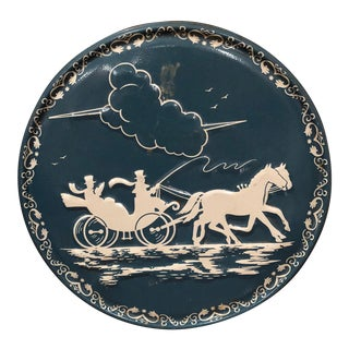 20th Century Americana Winter Sleigh Blue Cake Cookie Tin For Sale