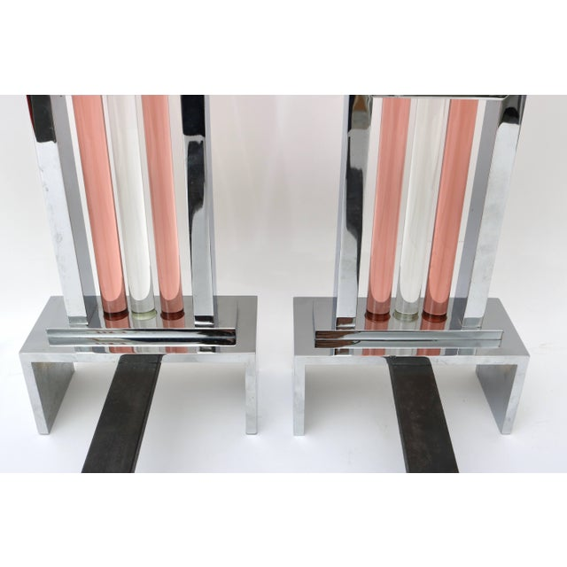 French Art Deco Fireplace Andirons in Polished Chrome and Glass For Sale - Image 10 of 11