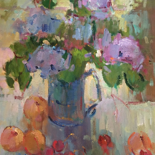 """1990s """"Lilacs in a Blue Jug"""" Painting by Kanya Bugreyev For Sale - Image 5 of 11"""