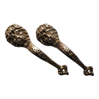 Vintage Brass Lion Door Pulls - Set of 2