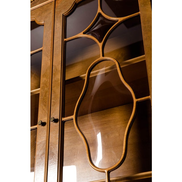 Mid 20th Century 20th Century Two Parts Burlwood Hutch or China Cabinet For Sale - Image 5 of 13