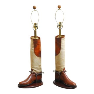Equestrian Riding Boots Mounted as Table Lamps - a Pair For Sale