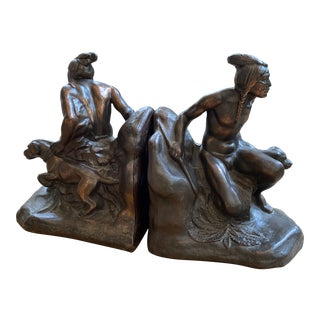 Bronze Crouching Native American With Dog Bookends - a Pair For Sale