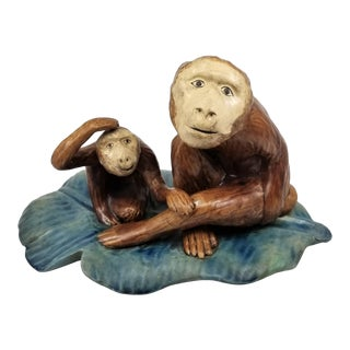 Ceramic Mother and Daughter Monkey Sitting on Large Banana Leaf Sculpture or Figurine For Sale