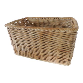 Vintage Woven Rattan Magazine or Storage Basket For Sale