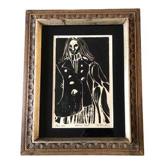 """Original Vintage Modernist Wood Block Print """"Man"""" Artist Proof Signed For Sale"""
