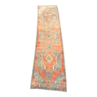 Orange Ethnic Decorative Turkish Handmade Antique Hallway Runner Rug For Sale