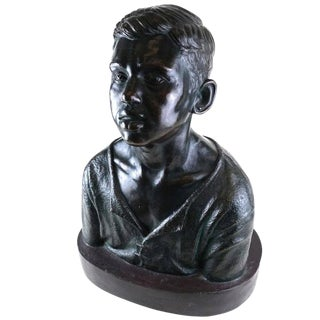 Life Sized Cast Bronze Young Boy Bust on Oval Base For Sale