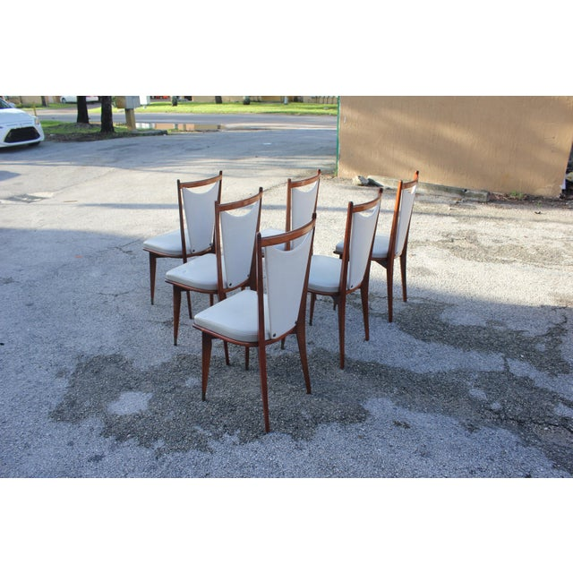 Set of 6 French Art Deco or Art Modern Solid Mahogany Dining Chairs Circa 1950s For Sale In Miami - Image 6 of 13