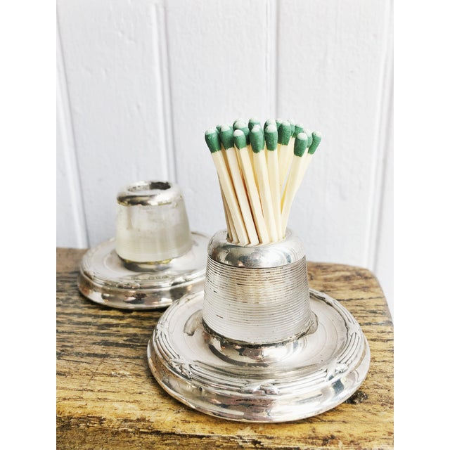 Edwardian Antique English Sterling Silver and Glass Match Strikers - a Pair For Sale - Image 3 of 10