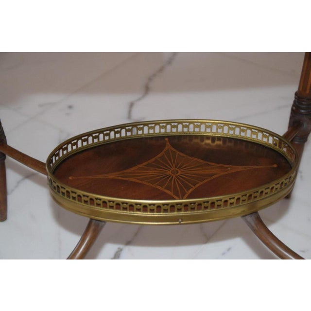 Antique English Mahogany Inlaid Three-Tiered Serving Table - Bottom Tier For Sale - Image 4 of 5