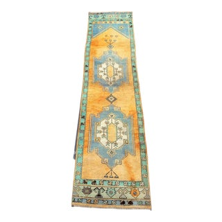 Antique Turkish Handmade Boho Design Pastel Wool Hallway Runner Rug - 2′5″ × 10′3″ For Sale