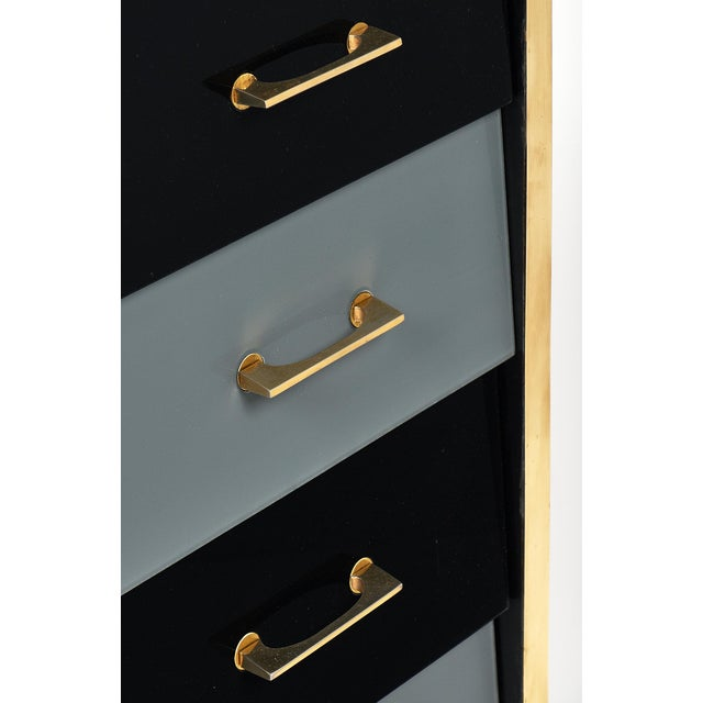 Brass Italian Vintage Glass Covered Chest of Drawers For Sale - Image 7 of 11