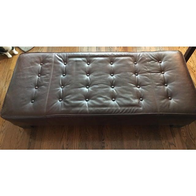Restoration Hardware Leather Bench - Image 4 of 5