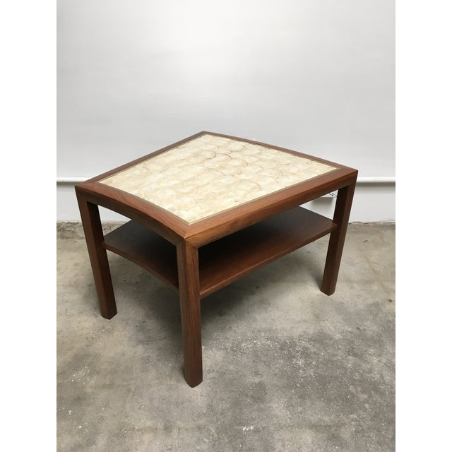 1950s Mid Century Modern Capiz Shell & Brass Top Side Table For Sale - Image 10 of 10