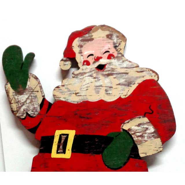 Vintage Santa Claus sign wood cut out. The back is unpainted.