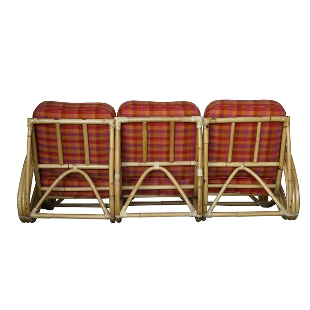 """Restored Three-Strand """"S-Arm"""" Rattan Living Room Set For Sale - Image 4 of 11"""