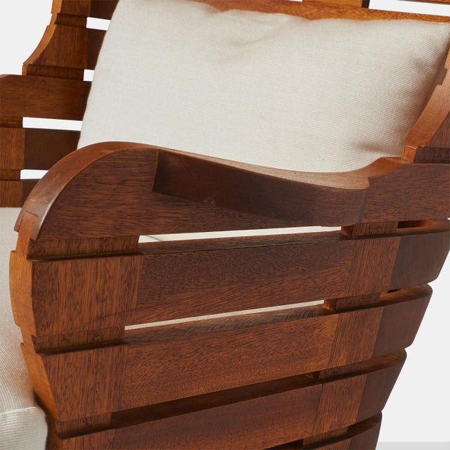 A LINEAR WING CHAIR EXCLUSIVELY FOR ALMOND & CO. For Sale - Image 9 of 11