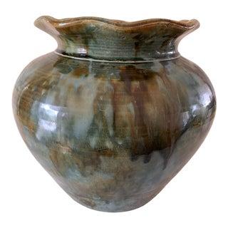 Vintage Green Marbled Drip Glaze Pottery Vase For Sale