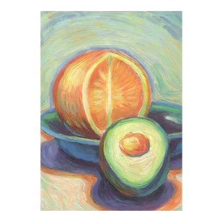 Still Life of Orange & Avocado Oil Painting