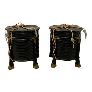 Pair of Rare Japanese Samurai Helmet Boxes Circa Mid 19th Century For Sale