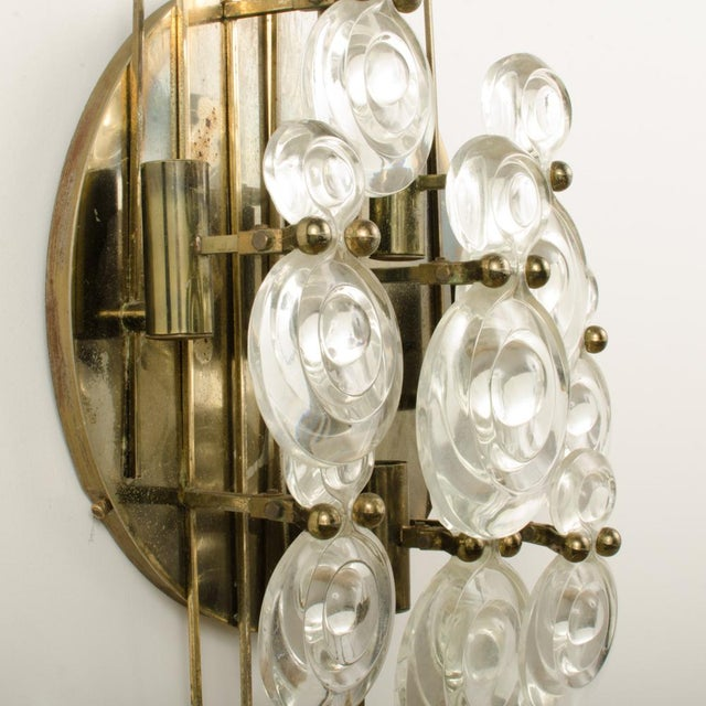 Metal 1965 Mid-Century Italian Glass And Brass Wall Sconce For Sale - Image 7 of 13