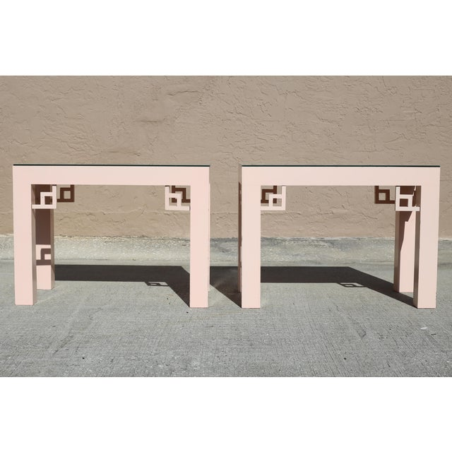 Vintage Blush Laminate Side Tables With Corner Accents and Glass Tops - a Pair For Sale - Image 13 of 13