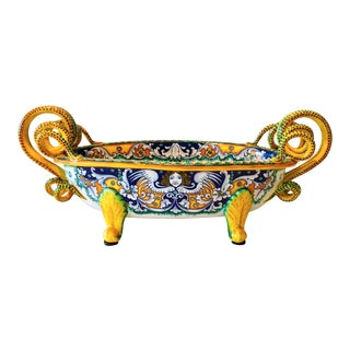 Deruta Hand-Painted Majolica Centerpiece Bowl With Serpentines, 1980's For Sale