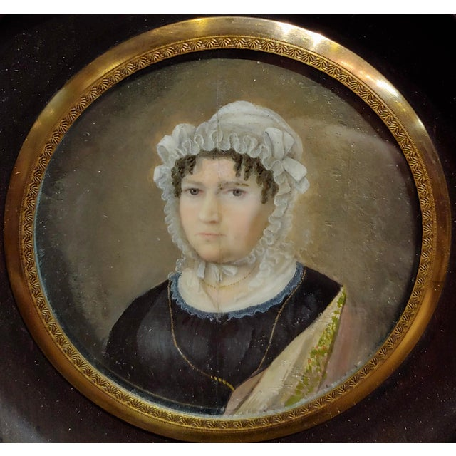 18th Century English School Husband & Wife Portraits Miniature Paintings - a Pair For Sale - Image 4 of 10